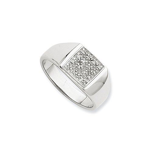 (925 Sterling Silver Diamond Men Band Ring Size 10.00 Man Fine Jewelry Gift For Dad Mens For Him)