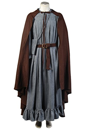 Gandalf The White Costume With Staff (NoveltyBoy Coffee Cloak The Lord of the Rings Cosplay Gandalf Costume Windbreaker Belt Bag Set)