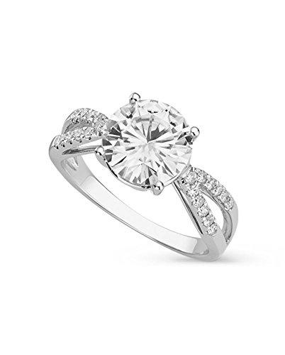 White Gold 9mm Round Forever Brilliant Moissanite Engagement Ring Size 7 By Charles & Colvard