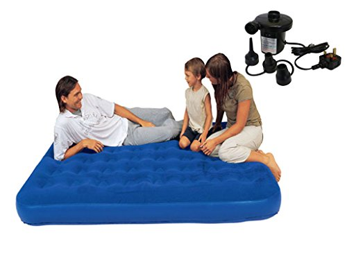 NEW INFLATABLE FLOCKED AIR BED AIRBED MATTRESS CAMPING INDOOR OUTDOOR