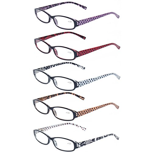 Reading Glasses Comb Pack of Multiple Classic Men and Women Readers Spring Hinge Glasses (5 Pack Mix Color, 1.50)