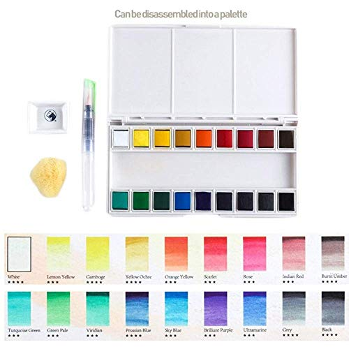 - Aolvo 18 Assorted Water Colors Travel Pocket Set, Watercolor Paint- Professional Art Water Colors Set with Water Color Brush Pen and Sponge for Kids Adults Painting