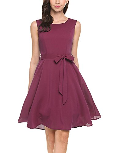 Teen Red M&m Party Dress (OURS Women's Summer Sleeveless Chiffon Pleated Cocktail Party Dress With Belt (M, Wine Red))