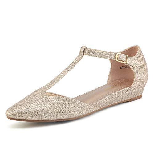 DREAM PAIRS Women's Gold Glitter Low Wedge Ballet Flats Shoes Size 12 M US Estella