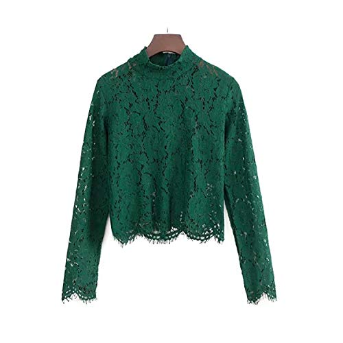 Capilene Shirt Green (Sexy Lace high Collar Women's Long-Sleeved Slim Slimming Wild Bottoming Shirt)
