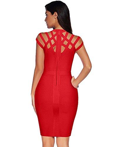 Le Rayon Des Femmes Meilun Cou Hight Découper Bandage Robe Moulante X-large Red1