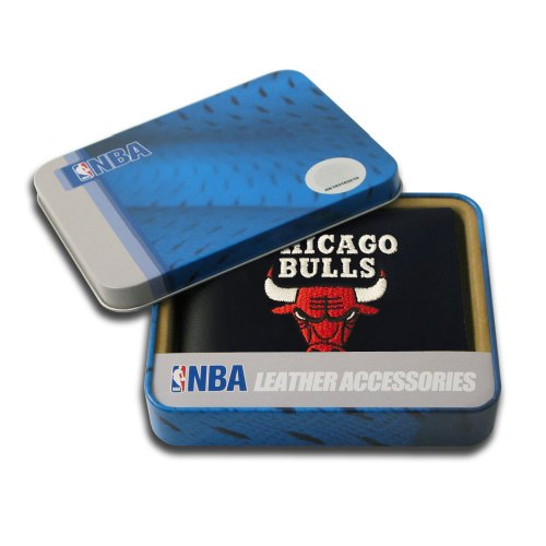 Rico Industries NBA Chicago Bulls Embroidered Genuine Leather Billfold (Tail Mens Wallet)