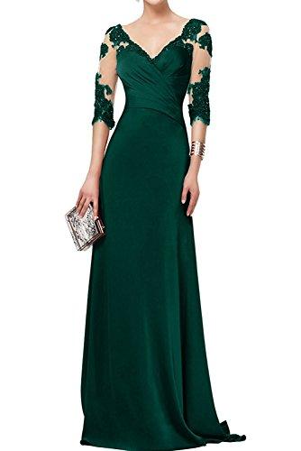 Marie Abendkleider Gruen Brautmutterkleider La Dunkel 3 4 mit Langarm Braut Spitze Promkleider Langes Festlichkleider pIOOdw