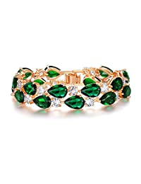 Ever Faith Dual Layer Full Prong Cubic Zirconia Teardrop Roman Tennis Bracelet