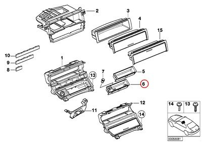 BMW Genuine Center Console Mount Trim Decorative Strips Front Ashtray Insert 320i 323Ci 323i 325Ci 325i 325xi 328Ci 328i 330Ci 330i 330xi M3 645Ci 650i M6 650i 645Ci 650i M6 650i - Ashtray Trim