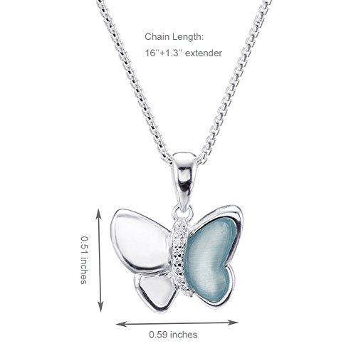 Silverage Sterling Silver Blue Danube Papillon Pendentif Collier 45,7cm