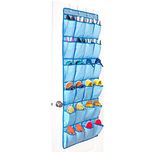 (Unjumbly Hanging Closet Organizer - 4 Colors Available - Shoe Organizer for Women, Men and Kids - Complete with 4 Metal Over Door Hooks )