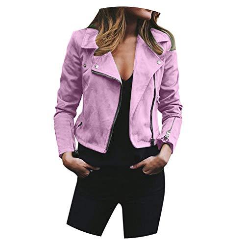 - Dress-shop Jackets Jacket Womens Ladies Casual Turndown Collar Retro Rivet Zipper Up Bomber Slim Fit Coat,Pink,XXL