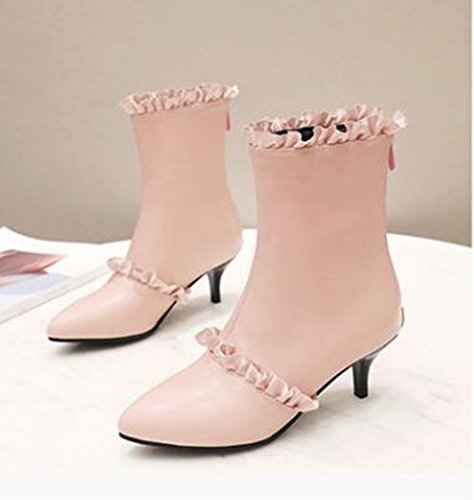 Easemax Womens Elegant Ruffled Pointed Toe Ankle Top Mid Kitten Heel Zipper Boots Pink rwpoI