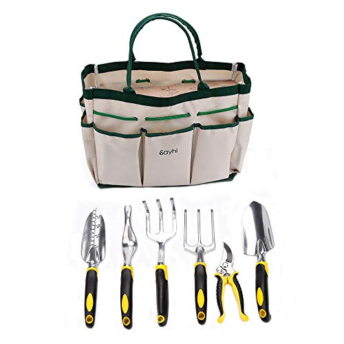 (Micozy Gardening Tools Arbor Day Set 7-Piece Garden Kit & Garden Tool with Heavy Duty Cast-Aluminum Heads Ergonomic Handles)