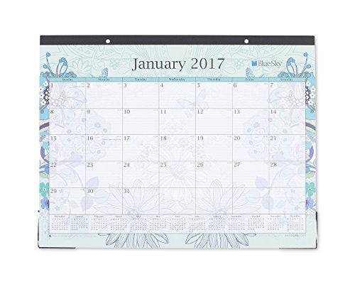 Blue Sky Lianne Aqua 22 x 17 Monthly Desk Pad Calendar, 2017