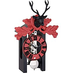 Hermle Kurt Black Forest Mechanical 8-Day Clock, Nickel Movement (Black & Red)