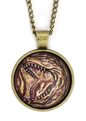 Tyrannosaurus Rex Dino Coin Necklace Gold Tone NW67 Dinosaur Pendant Fashion Jewelry