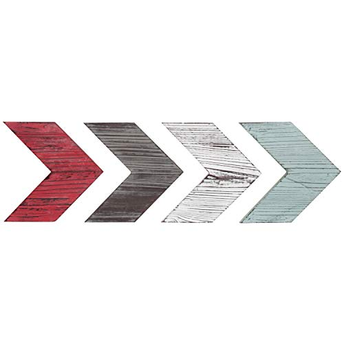 MyGift Decorative Rustic Wood Wall-Mounted Chevron Arrows, Set of - Nock Red