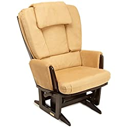 Dutailier Nursing Grand Modern Glider Chair with Built-In Feeding Pillows, Espresso/Camel