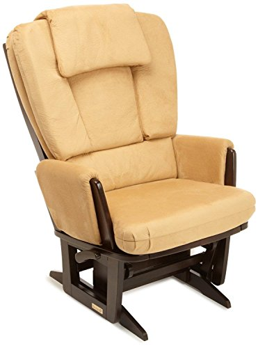 (Dutailier Nursing Grand Modern Glider Chair with Built-In Feeding Pillows, Espresso/Camel)