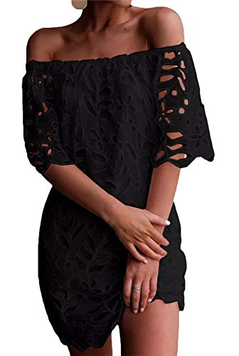 PRETTYGARDEN Women's Sexy Off Shoulder Vintage Floral Lace Flare Short Sleeve Loose Elegant Mini Dress (Black, Medium)