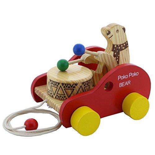 HSOMiD Wooden Toy Poko Poko Bear Drum Beating Car for Baby Toddlers Kids (Poko Bear)