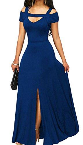 Deep High Neck Shoulder Dark Slim Women V Blue Swing Split Cocktail Dress Cold Domple Long A0HqfwUq