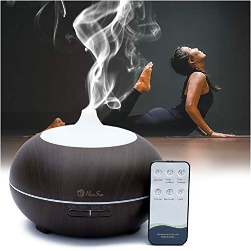 HONSUN Smart AromatherapyDiffuser with Remote Control and 500 ml Aroma Essential oil Diffuser Ultra Quiet for Yoga Spa Cool Mist Humidifier with 7 Colors LED Lights and Waterless Auto Shut-off