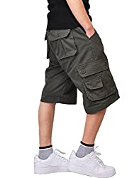 Olrain Men's Retro Classic Twill Multi Pocket Cargo Shorts 28 Green