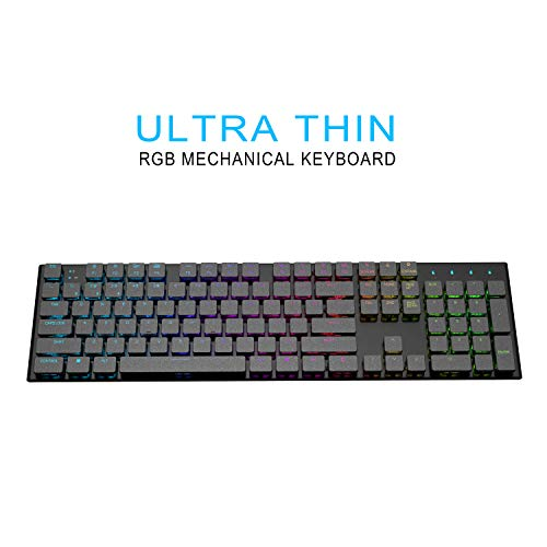 1a06d9db24e anidees Prismatic Ultra-Slim Wired/Wireless Gaming Mechanical Keyboard RGB LED  Backlit Key Extra-Thin & Light, Low Profile Blue Switches, ...
