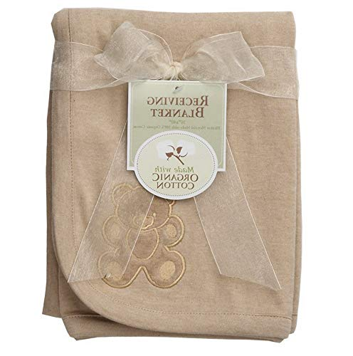(Hebel 30 X 40 Embroidered Swaddle Blanket Made with Organic Cotton, Mocha, Soft Breathable, for Boys and Girls | Model BLNKT - 11 | 3430