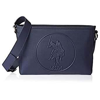 U.S. Polo Assn. Leather Clutch Bag for Women - Navy