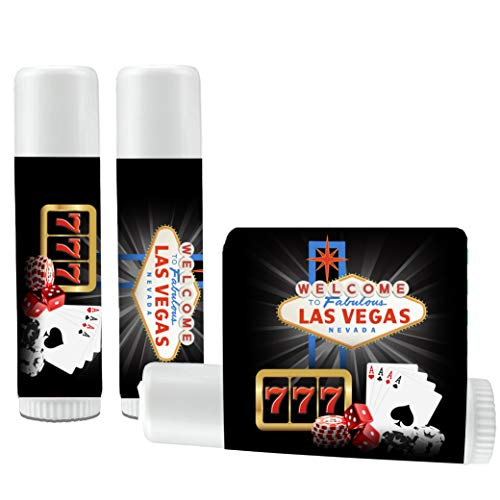 12 Las Vegas Lip Balm Favors - Las Vegas Party - Las Vegas Themed Giveaway - Las Vegas Bachelorette Party - Las Vegas Bachelor Party - Las Vegas Party]()