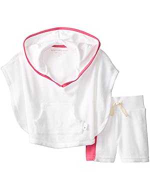 Girls Organic Knit Terry Poncho and Board Short