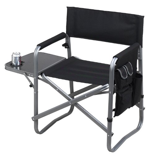 Picnic at Ascot Portable Folding Sports Chair- Extra Wide - Black (Wide Folding Chair)