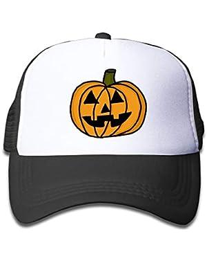 Pumpkin Clip Art Halloween On Kids Trucker Hat, Youth Toddler Mesh Hats Baseball Cap