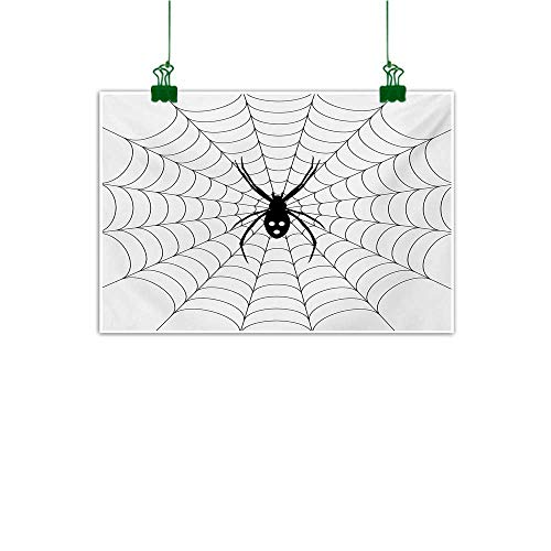 Anzhutwelve Spider Web,Home Decor Wall ArtPoisonous Bug Venom Thread Circular Cobweb Arachnid Cartoon Halloween Icon Unframed Art Black White W 32