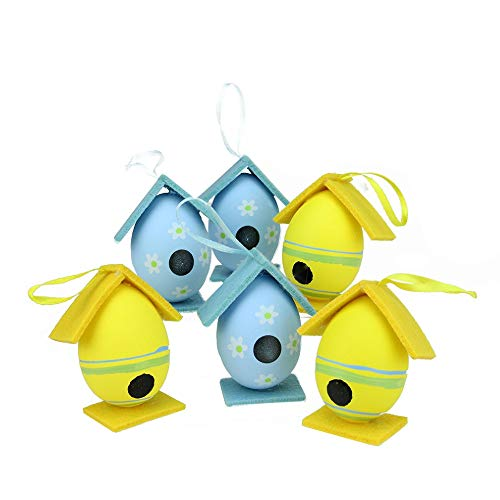 Northlight Set of 6 Yellow and Blue Floral Painted Design Spring Easter Egg Birdhouse Ornaments 3