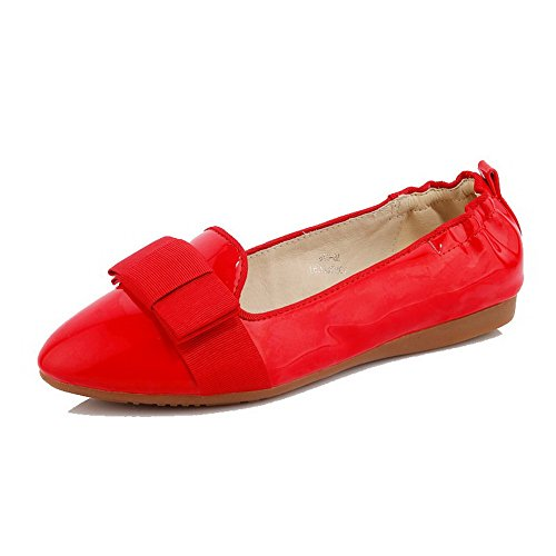 AllhqFashion Mujer Sin cordones Puntera Redonda Mini Tacón Pu Sólido De salón Rojo