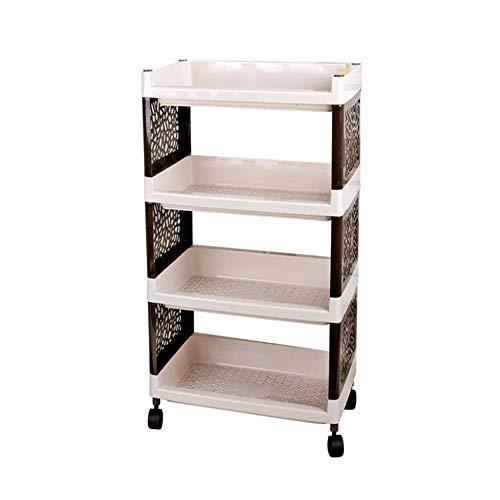 LXLOVESM 4-Tier Rolling Plastic Storage Organizer Mobile Utility Cart with Caster Wheels,Bedroom Kitchen Bathroom Toilet…