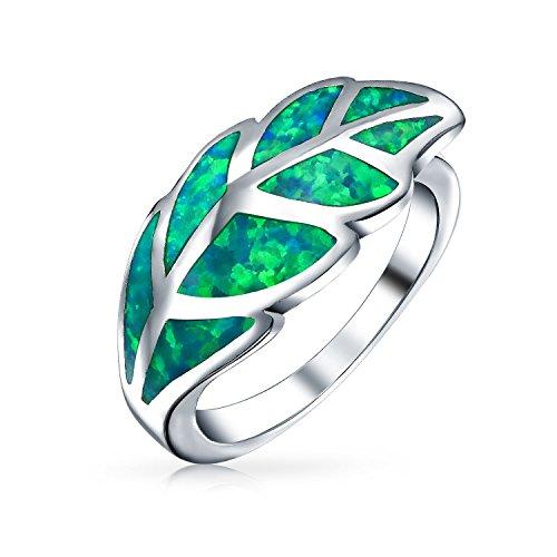 Bling Jewelry .925 Silver Green Opal Leaf Motif Ring