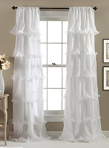 Lush Decor Nerina Curtain Sheer Ruffled Textured Window for sale  Delivered anywhere in USA