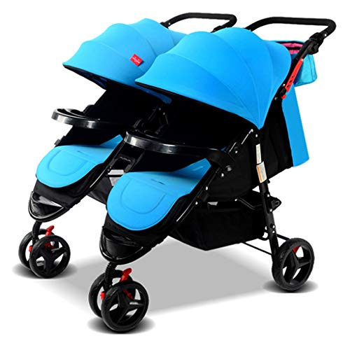 KHUY Scooter X2 Double Stroller, Double Stroller | Lightweight Double Stroller with Tandem Seating,Side by Side Tandem Umbrella Cart (Color : Blue)