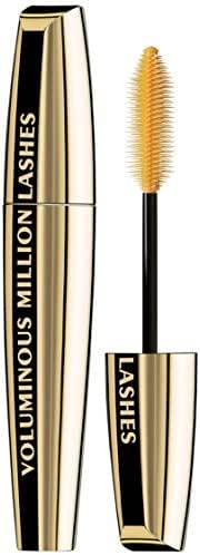 L'Oreal Paris Makeup Voluminous Million Lashes Mascara, Volumizing, Defining, Smudge-Proof, Clump-Free Lengthening, Collagen Infused Eye Makeup, Amplifying Mascara Brush, Blackest Black, 0.3 fl. Oz