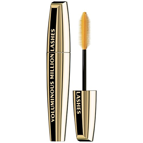 L'Oreal Paris Makeup Voluminous Million Lashes Mascara, Volumizing, Defining, Smudge-Proof, Clump-Free Lengthening, Collagen Infused Eye Makeup, Amplifying Mascara Brush, Blackest Black, 0.3 fl. Oz ()