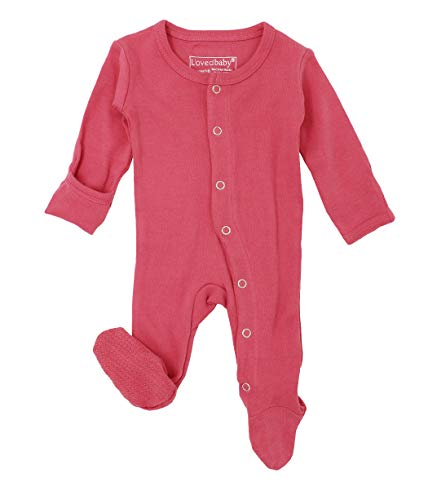 L'ovedbaby Unisex-Baby Organic Cotton Footed Overall (0-3 Months, Berry) -