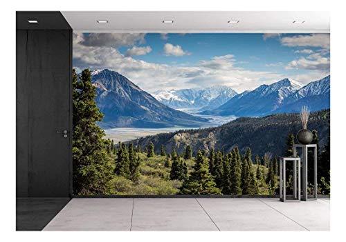wall26 Mountain Range View - Removable Wall Mural | Self-Adhesive Large Wallpaper - 100x144 (Mountain Wall Mural)