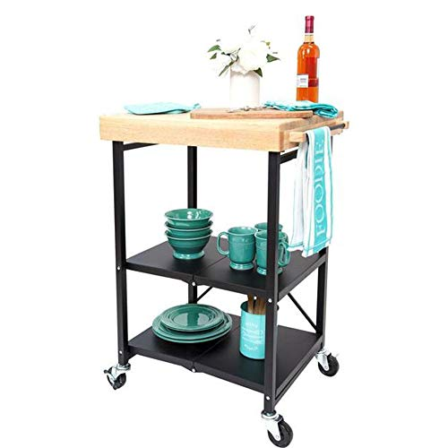 Portable Kitchen Bar: Portable Rolling Cafe Cart Foldable Kitchen Island Counter