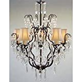 Cheap New! Wrought Iron & Crystal Chandelier With White Shades! H27 x W21